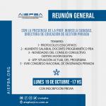 Reunión general de AIEPBA – Lunes 19 de octubre – 17 hs – participará la Directora de Educación de Gestión Privada Prof. Marcela Cabadas